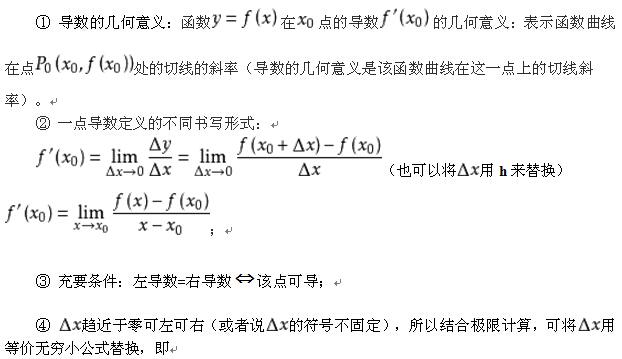 考研数学中的导数定义