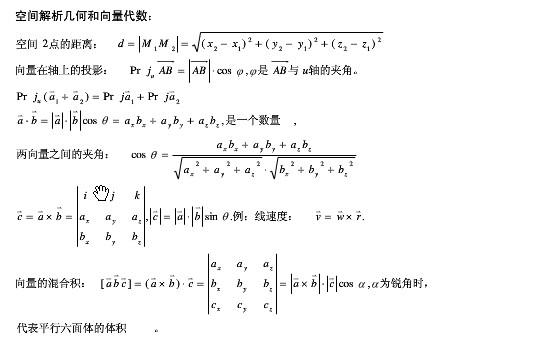2015考研数学空间解析几何和向量代数公式