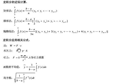 2015考研数学定积分的近似计算和定积分应用相关公式