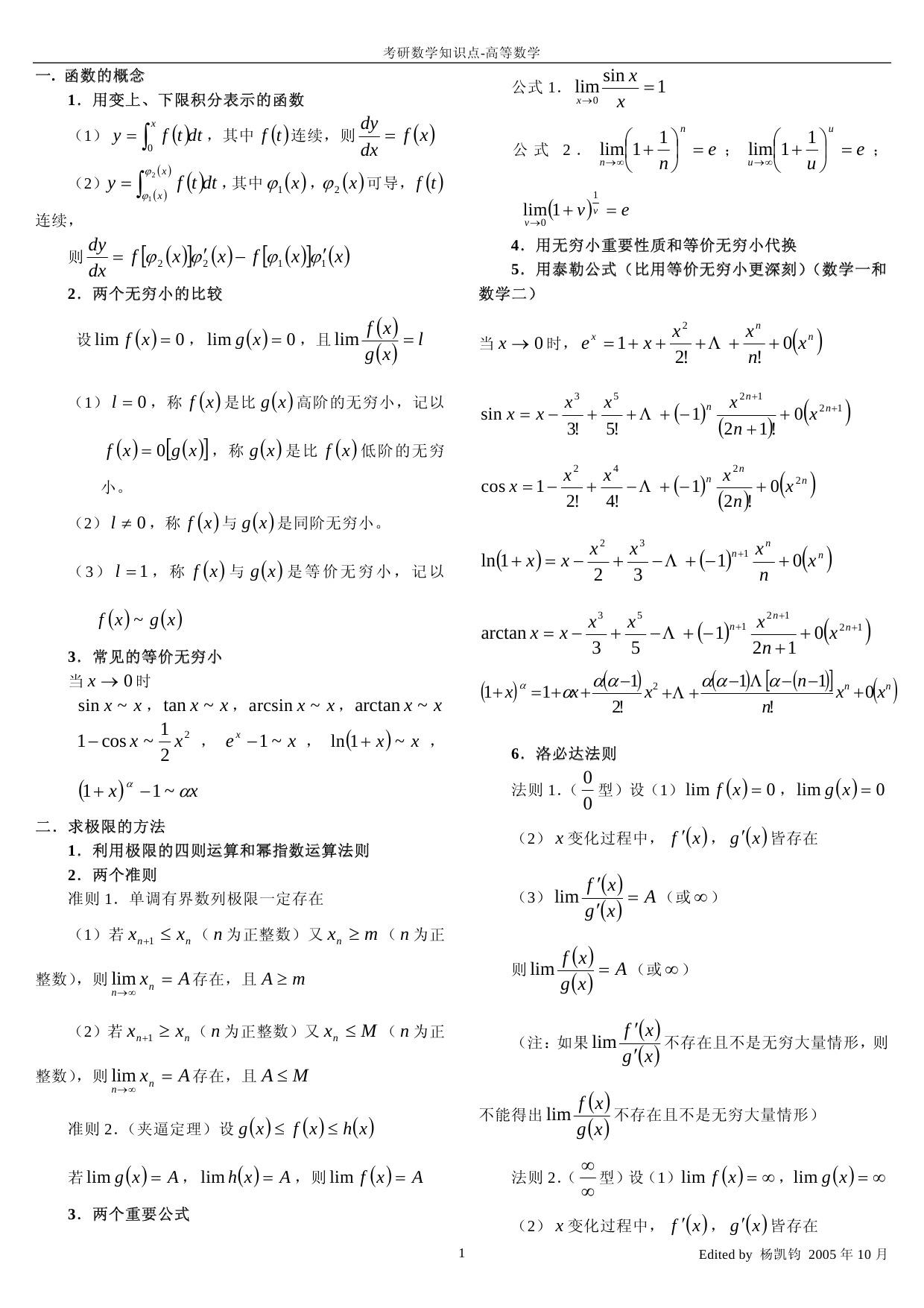 2015考研高等数学知识点