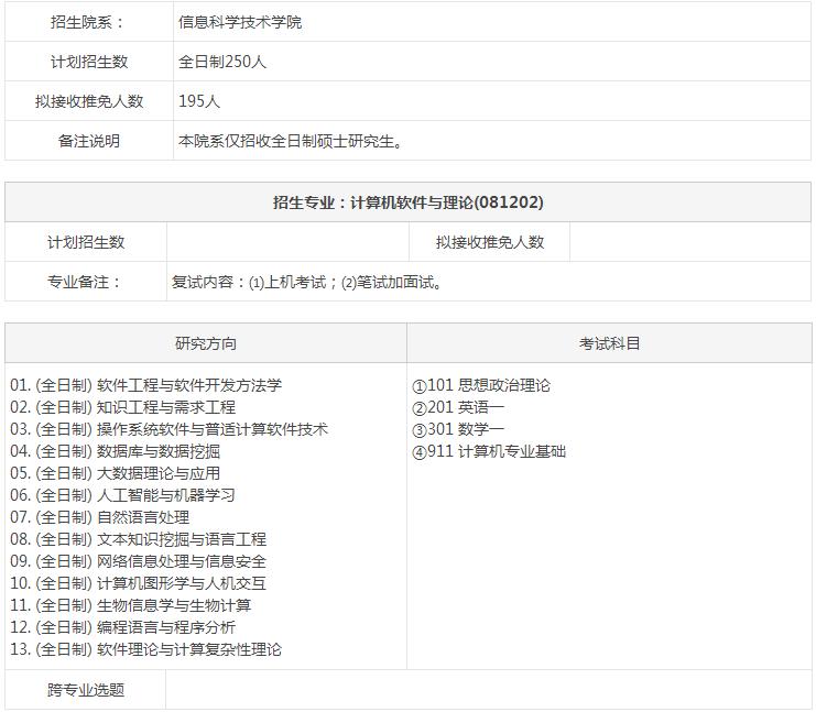 北京大学081202计算机软件与理论2018硕士生招生专业目录