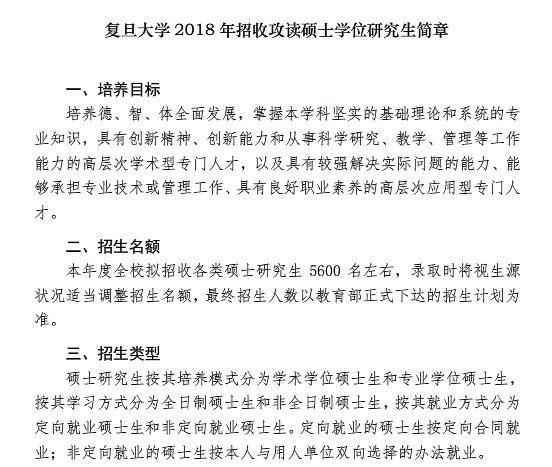 复旦大学2018年招收攻读全日制硕士学位研究生简章