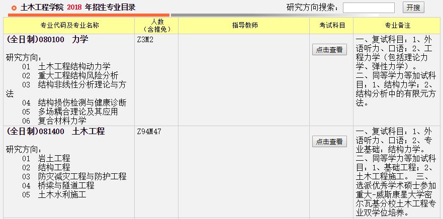 重庆大学土木工程学院2018年考研招生专业目录