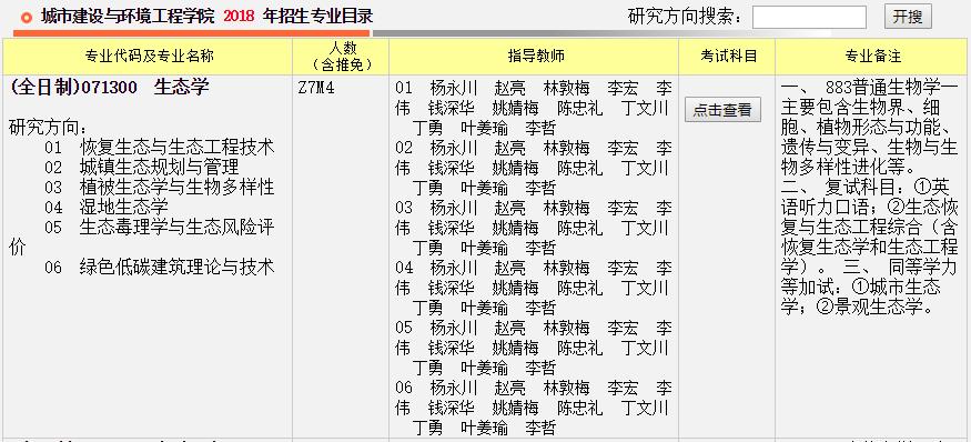 重庆大学城市建设与环境工程学院2018年考研招生专业目录