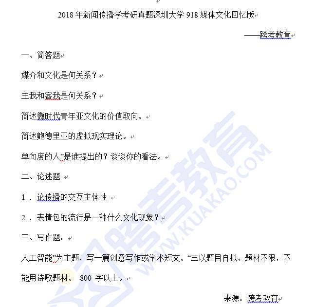 深圳大学918媒体文化2018考研真题