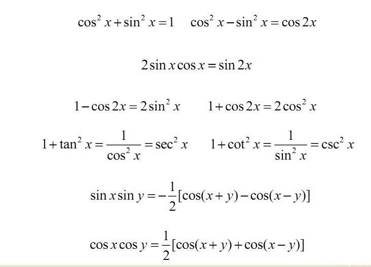 2020考研数学高数基础知识点:常用三角函数公式