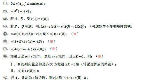 2020考研线性代数公式大全:矩阵秩的基本性质